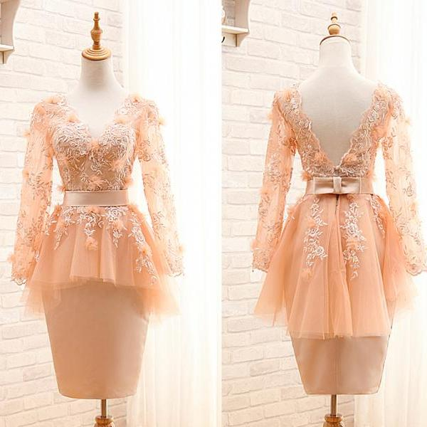 A50 Short Pink Lace Long Sleeve Homecoming Dress, Evening Dress,Mini Gowns
