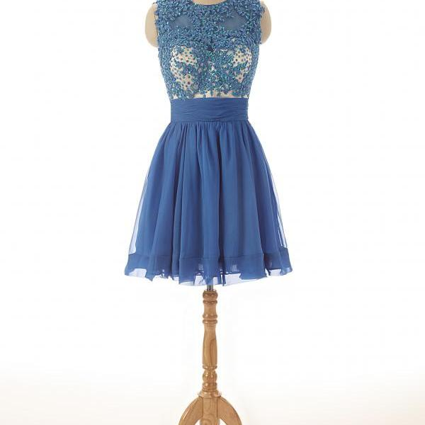 A86 Short Lace Appliques Top Homecoming Dress,Blue Chiffon Bridesmaid Dresses Cocktail Dress