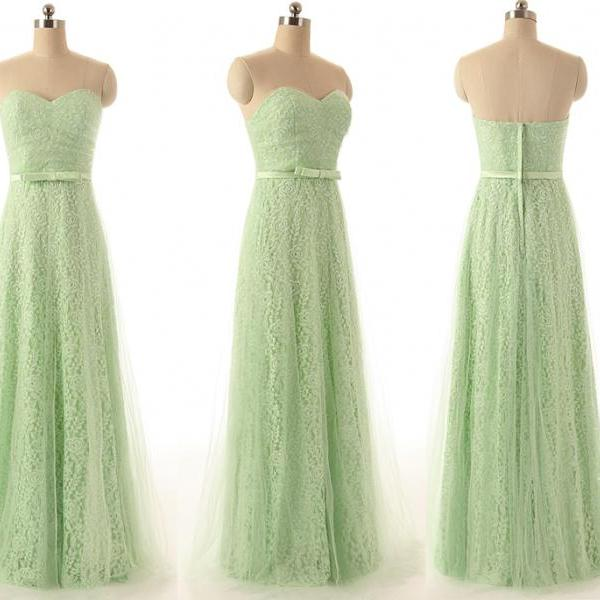 A94 Mint Lace Long Prom Gowns, Real photos Bridesmaid Dresses, Charming New Fashion Evneing Gowns