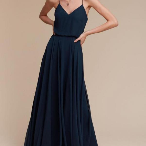 A100 a line long chiffon navy blue cheap v neck bridesmaid dress,navy blue simple elegant wedding party dress