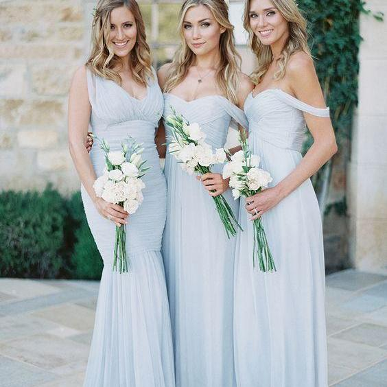 A101 a line long chiffon off shoulder pale blue bridesmaids dress,long wedding party dress