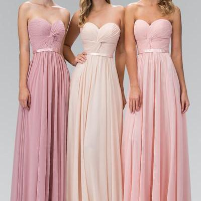 A103 A Line Long Chiffon Pleated Simple Pink Bridesmaids Dress