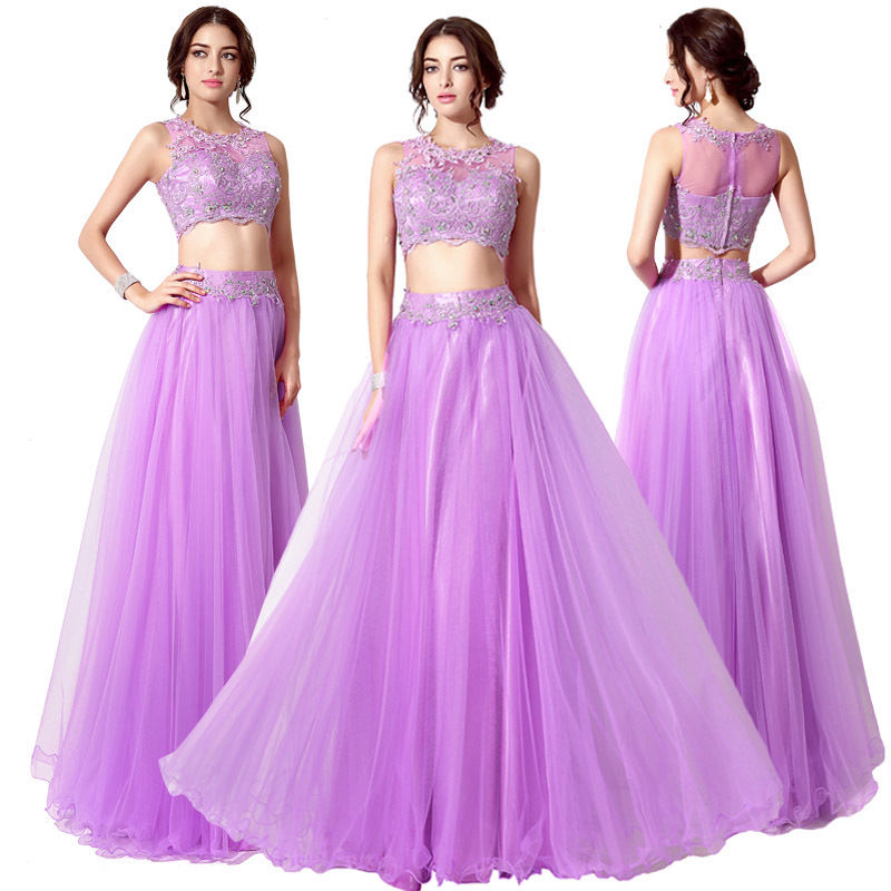 S561 Lavender Purple Two Piece Beaded Lace Long Formal Prom Dress