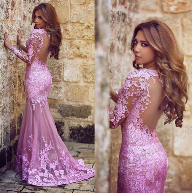 cae00db9c6e S694 Gorgeous Long Sleeves Mermaid Long Prom Dress With Lace