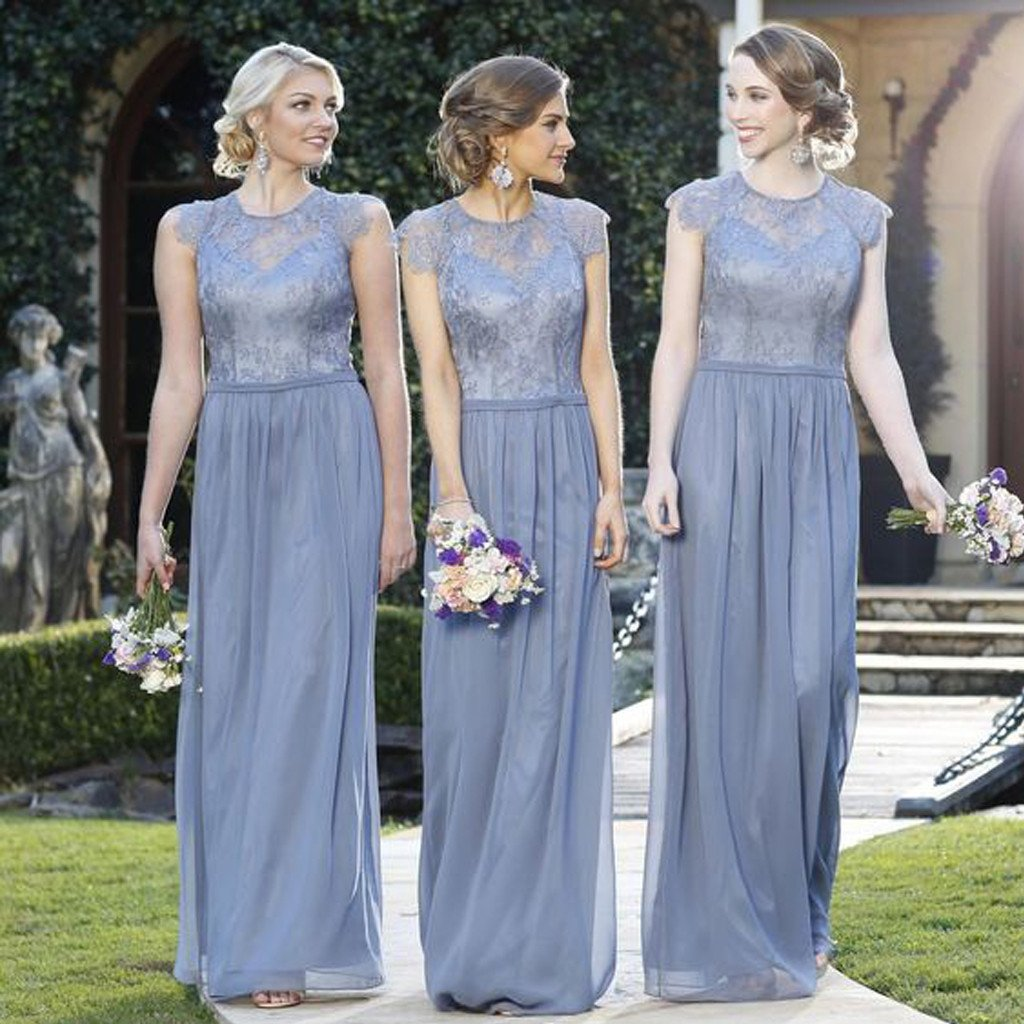 8af6ed560f49 A115 Elegant Lace Top Cap Sleeve Charming Small Round Neck Formal A Line  Cheap Bridesmaid Dresses,Br on Luulla