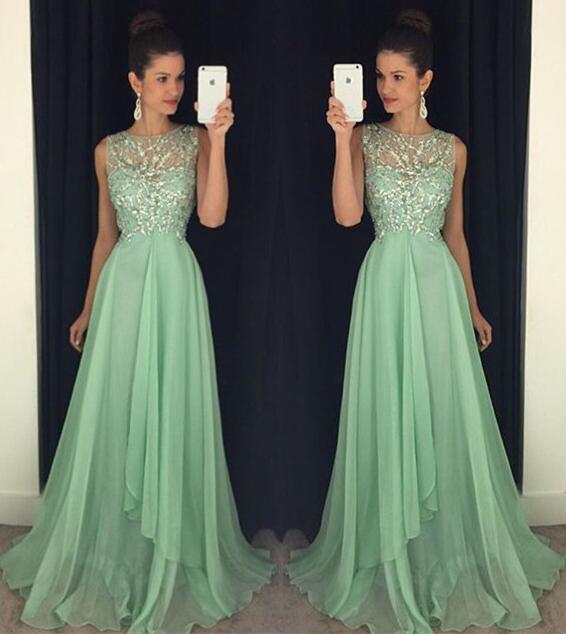 A170 Backless Prom Dresses, Green Prom Dresses,